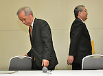 """May 14, 2012, Tokyo, Japan - Outgoing President Toshio Nishizawa, right, leaves a news conference at its Tokyo head office ahead of his successor Naomi Hirose on Monday, May 14, 2012...The operator of the crippled Fukushima Daiichi nuclear plant posted a 781-billion-yen net loss, worse than a previous prediction for a 708.0 billion yen shortfall. Nishizawa, said warned that """"unexpected situations"""" this summer could make its already shaky energy supply even tougher as Japan's atomic reactors remain offline. (Photo by Natsuki Sakai/AFLO) AYF -mis-."""