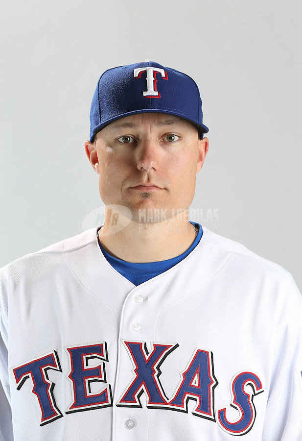 Feb. 20, 2013; Surprise, AZ, USA: Texas Rangers second baseman Jeff Baker poses for a portrait during photo day at Surprise Stadium. Mandatory Credit: Mark J. Rebilas-