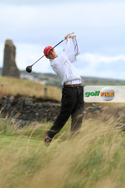 Shaun Carter (Stackstown/NUIM) on the 17th tee during the South of Ireland Amateur Open Championship Third Round at Lahinch Golf Club  29th July 2013 <br /> Picture:  Thos Caffrey / www.golffile.ie