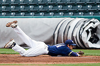 Brandon Healy (14) of the Oral Roberts Golden Eagles dives for a line drive to left field during a game against the Missouri State Bears on March 27, 2011 at Hammons Field in Springfield, Missouri.  Photo By David Welker/Four Seam Images