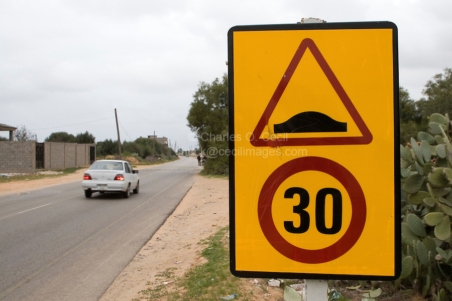 Tripoli, Libya - Speed Bump Sign