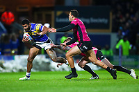 Picture by Alex Whitehead/SWpix.com - 08/03/2018 - Rugby League - Betfred Super League - Leeds Rhinos v Hull FC - Emerald Headingley Stadium, Leeds, England - Leeds' Kallum Watkins is tackled by Hull FC's Marc Sneyd.