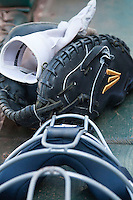 California Golden Bears catchers mit and mask before the NCAA baseball game on March 2nd, 2013 at Minute Maid Park in Houston, Texas. North Carolina defeated Cal 11-5. (Andrew Woolley/Four Seam Images).