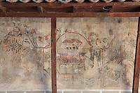 Painted decoration of houses and gardens on the walls of the portico of the Bachelors' Mosque or Xhami e Beqareve, built in 1827, in Mangalem quarter, Berat, South-Central Albania, capital of the District of Berat and the County of Berat. The 'Bachelors' were young unmarried shop assistants whom the merchants in Berat used as their own private militia.In July 2008, the old town (Mangalem district) was listed as a UNESCO World Heritage Site. Picture by Manuel Cohen