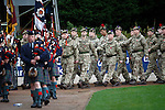 St Johnstone v Kilmarnock...07.11.15  SPFL  McDiarmid Park, Perth<br /> A Remembrance Service was held before kick off.... Soldiers from 7 Scots parade around McDiarmid Park led by the Perth & District Pipe Band.<br /> Picture by Graeme Hart.<br /> Copyright Perthshire Picture Agency<br /> Tel: 01738 623350  Mobile: 07990 594431