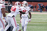 Wisconsin Badgers linebacker Chris Orr (54) celebrates an interception by defensive back Derrick Tindal (25) during an NCAA College Big Ten Conference football game against the Illinois Fighting Illini Saturday, October 28, 2017, in Champaign, Illinois. The Badgers won 24-10. (Photo by David Stluka)