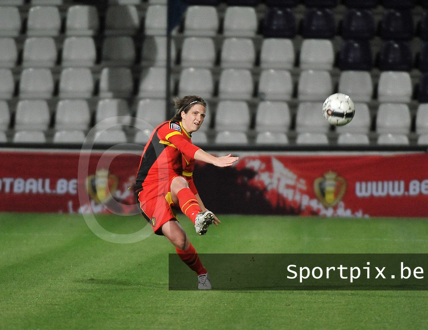 20131031 - ANTWERPEN , BELGIUM : Belgian Maud Coutereels pictured during the female soccer match between Belgium and Portugal , on the fourth matchday in group 5 of the UEFA qualifying round to the FIFA Women World Cup in Canada 2015 at Het Kiel stadium , Antwerp . Thursday 31st October 2013. PHOTO DAVID CATRY