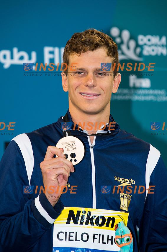 CIELO FILHO Cesar BRA Bronze Medal<br /> Men's 50m Freestyle Final<br /> Doha Qatar 05-12-2014 Hamad Aquatic Centre, 12th FINA World Swimming Championships (25m). Nuoto Campionati mondiali di nuoto in vasca corta.<br /> Photo Giorgio Scala/Deepbluemedia/Insidefoto