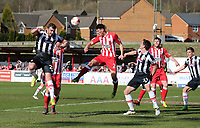 Gavin Gunning of Grimsby Town attacks a corner <br /> during the Sky Bet League 2 match between Accrington Stanley and Grimsby Town at the Fraser Eagle Stadium, Accrington, England on 25 March 2017. Photo by Tony  KIPAX / PRiME Media Images.