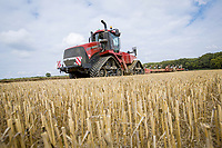 Ploughing wheat stubble for second wheat - Suffolk, August
