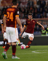 Calcio, Serie A: Roma vs Empoli. Roma, stadio Olimpico, 17 ottobre 2017.<br /> Roma&rsquo;s Miralem Pjanic scores on a free kick during the Italian Serie A football match between Roma and Empoli at Rome's Olympic stadium, 17 October 2015.<br /> UPDATE IMAGES PRESS/Isabella Bonotto