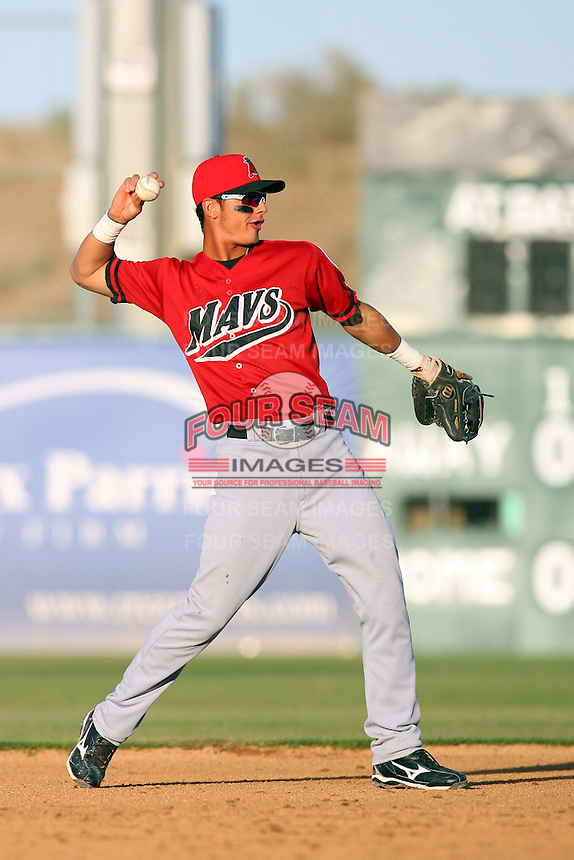 April 19 2009: Edilio Colina of the High Desert Mavericks during game against the Lancaster JetHawks at Clear Channel Stadium in Lancaster,CA.  Photo by Larry Goren/Four Seam Images