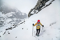 Hiking up Cho La Pass in a snow storm, the second pass of the 3 Passes Tour, Khumbu Valley, Nepal.