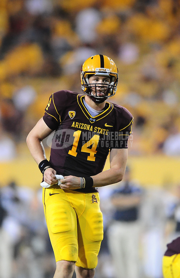 Sept. 11, 2010; Tempe, AZ, USA; Arizona State Sun Devils quarterback Steven Threet against the Northern Arizona Lumberjacks at Sun Devil Stadium. Arizona State defeated Northern Arizona 41-20. Mandatory Credit: Mark J. Rebilas-