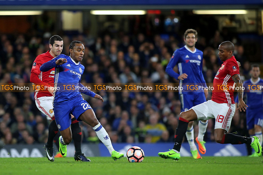 Willian of Chelsea takes on Manchester United's Ashley Young during Chelsea vs Manchester United, Emirates FA Cup Football at Stamford Bridge on 13th March 2017