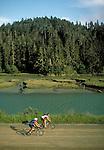 Mountain biking along Big River on the Mendocino California Coast.  CD scan from 35 mm film.