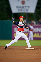 Syracuse Chiefs second baseman Bengie Gonzalez (3) turns a double play during a game against the Scranton/Wilkes-Barre RailRiders on June 14, 2018 at NBT Bank Stadium in Syracuse, New York.  Scranton/Wilkes-Barre defeated Syracuse 9-5.  (Mike Janes/Four Seam Images)