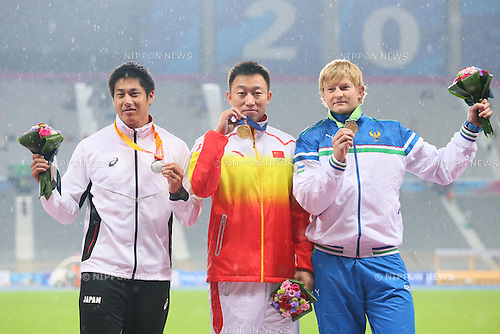 Ryohei Arai (JPN), <br /> OCTOBOR 2, 2014 - Athletics : <br /> Men's Javelin Throw victory ceremony <br /> at Incheon Asiad Main Stadium <br /> during the 2014 Incheon Asian Games in Incheon, South Korea. <br /> (Photo by Yohei Osada/AFLO SPORT)