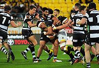 Galu Taufale is wrapped up during the Mitre 10 Cup rugby union match between Wellington Lions and Hawkes Bay Magpies at Westpac Stadium, Wellington, New Zealand on Wednesday, 6 September 2017. Photo: Dave Lintott / lintottphoto.co.nz