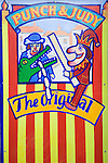 Old fashioned traditional Punch and Judy sign Harwich, Essex, England
