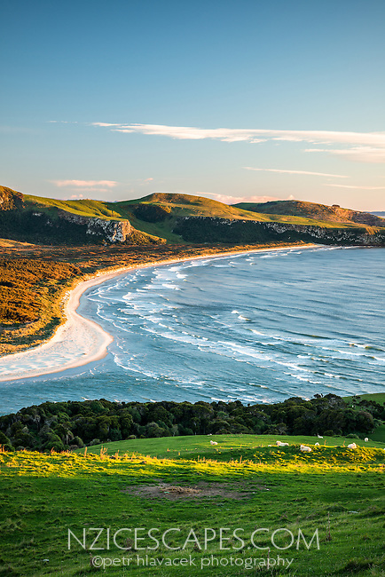 Sunrise over Wickliffe Bay on Otagao Peninsula. Victory Beach and Papanui Inlet in centre, Otago, East Coast, New Zealand, NZ