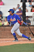Kingsport Mets shortstop Milton Ramos (2) swings at a pitch during a game against the  Johnson City Cardinals on June 25, 2015 in Johnson City, Tennessee. The Mets defeated the Cardinals 10-8 (Tony Farlow/Four Seam Images)