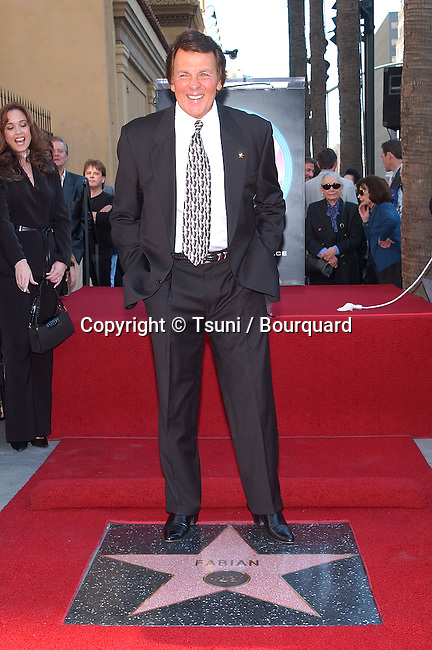 Fabian received the 2188th star on the Hollywood Walk of Fame in Los Angeles. January 8, 2002. Fabian05.JPG