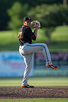 Delmarva Shorebirds relief pitcher Tyler Erwin (27) in action against the Kannapolis Intimidators at Kannapolis Intimidators Stadium on July 2, 2017 in Kannapolis, North Carolina.  The Shorebirds defeated the Intimidators 5-4.  (Brian Westerholt/Four Seam Images)