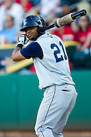 Jonathan Villar (21) of the Corpus Christi Hooks on deck during a game against the Springfield Cardinals at Hammons Field on August 13, 2011 in Springfield, Missouri. Springfield defeated Corpus Christi 8-7. (David Welker / Four Seam Images)