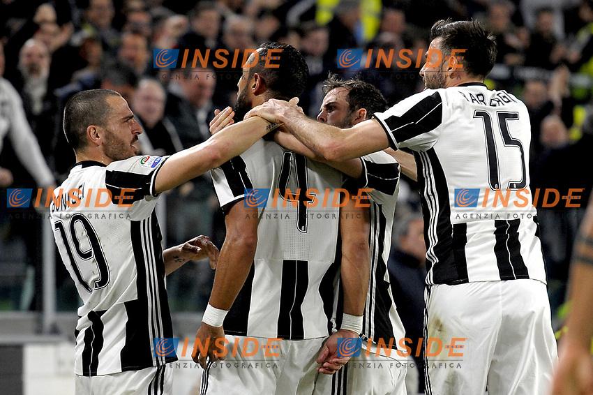 Esultanza giocatori Juventus dopo gol 1-0, goal celebration <br /> Torino 10-03-2017, Juventus Stadium, Football Calcio 2016/2017 Serie A, Juventus - Milan, Foto Filippo Alfero/Insidefoto