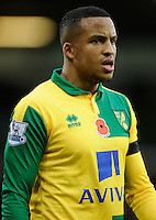 Martin Olsson of Norwich City wears the Remembrance Day Poppy on his shirt during the Barclays Premier League match between Norwich City and Swansea City played at Carrow Road, Norwich on November 7th 2015