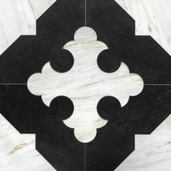 Coronel Grande, a stone waterjet mosaic, shown in honed Orpheus Black and Cirrus, is part of the Miraflores Collection by Paul Schatz for New Ravenna.