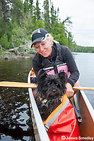 Family dog on canoe trip