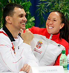 Tenis, Fed Cup 2011, play-off for group A.Slovakia Vs. Serbia, Official Draw.from left, Team captain Dejan Vranes, Jelena Jankovic.Bratislava, 15.04.2011..foto: Srdjan Stevanovic/Starsportphoto ©