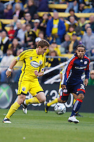 25 OCTOBER 2009:  Kevin Alston of the New England Revolution (30) and Robbie Rogers of the Columbus Crew (19)  during the New England Revolution at Columbus Crew MLS game in Columbus, Ohio on October 25, 2009.