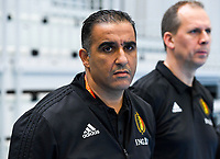 20200129 – Herentals , BELGIUM : Belgian head coach Karim Bachar pictured during a futsal indoor soccer game between Armenia and  the Belgian Futsal Devils of Belgium on the first matchday in group B of the UEFA Futsal Euro 2022 Qualifying or preliminary round , Wednesday 29 th January 2020 at the Sport Vlaanderen sports hall in Herentals , Belgium . PHOTO SPORTPIX.BE | DAVID CATRY