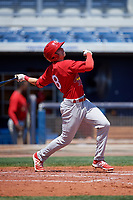 Palm Beach Cardinals right fielder Thomas Spitz (8) follows through on a swing during a game against the Charlotte Stone Crabs on April 12, 2017 at Charlotte Sports Park in Port Charlotte, Florida.  Palm Beach defeated Charlotte 8-7 in ten innings.  (Mike Janes/Four Seam Images)
