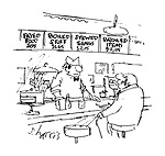 (Diner with signs reading: Fried Food $1.95, Boiled Stuff $1.65, Stewed Things $2.15, Broiled Items $2.05)