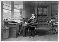 "England, Undated  drawing - circa 1860 - <br /> charles dickens in his study.<br /> <br /> Charles John Huffam Dickens, FRSA  7 February 1812 › 9 June 1870), pen-name ""Boz"", was one of the most popular English novelists of the Victorian era as well as a vigorous social campaigner."