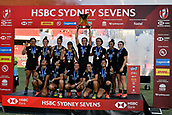 3rd February 2019, Spotless Stadium, Sydney, Australia; HSBC Sydney Rugby Sevens; New Zealand versus Australia; Womens Final; New Zealand with their trophy after winning the final against Australia