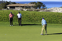 Bill Murray sinks his putt on the 4th green at Spyglass Hill during Thursday's Round 1 of the 2018 AT&amp;T Pebble Beach Pro-Am, held over 3 courses Pebble Beach, Spyglass Hill and Monterey, California, USA. 8th February 2018.<br /> Picture: Eoin Clarke | Golffile<br /> <br /> <br /> All photos usage must carry mandatory copyright credit (&copy; Golffile | Eoin Clarke)
