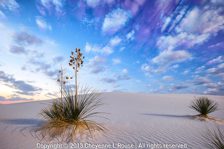 White Sands - Nature's Combo - New Mexico - 23 exposures of stars, moonset and sunrise combined. White Sands National Monumnet
