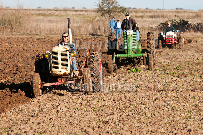 Antique tractors plowing a field in fall during the Branch 158 EDGE & TA Fall Plow Day and Plowing Seminar near Pleasant Grove, Calif...Silmer Scheidel Farm..early 1950s Case Mod. VAO tractor followed by 1950s John Deere and Ford tractors