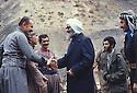 Iran 1979.Sheikh Ezzedine Husseini visiting the Headquarters of KDPI , left Mohamed Emin, Ghani Bulurian and right,Nabi Qadri