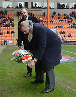 Terry Alcock lays flowers in memory of Fred Pickering<br /> <br /> Photographer Kevin Barnes/CameraSport<br /> <br /> The EFL Sky Bet League One - Blackpool v Oxford United - Saturday 23rd February 2019 - Bloomfield Road - Blackpool<br /> <br /> World Copyright © 2019 CameraSport. All rights reserved. 43 Linden Ave. Countesthorpe. Leicester. England. LE8 5PG - Tel: +44 (0) 116 277 4147 - admin@camerasport.com - www.camerasport.com