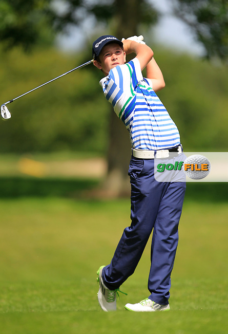 Paddy Culhane (Galway) on the 11th tee during the Irish Boys Under 15 Amateur Open Championship Round 2 at the West Waterford Golf Club on Wednesday 21st August 2013 <br /> Picture:  Thos Caffrey/ www.golffile.ie