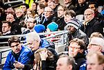 Stockholm 2015-03-05 Fotboll Svenska Cupen Djurg&aring;rdens IF - IFK Norrk&ouml;ping :  <br /> Djurg&aring;rdens provspelare Nyasha Mushekw p&aring; l&auml;ktaren ovanf&ouml;r Djurg&aring;rdens sportchef Bo Bosse Andersson och scout Mats Jansson under matchen mellan Djurg&aring;rdens IF och IFK Norrk&ouml;ping <br /> (Foto: Kenta J&ouml;nsson) Nyckelord:  Djurg&aring;rden DIF Tele2 Arena Svenska Cupen Cup IFK Norrk&ouml;ping Peking portr&auml;tt portrait supporter fans publik supporters