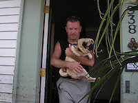 Ronnie Virgets girlfriend's pug in Lakeview. Hurricane Katrina pet resucue in New Orleans.