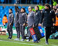Leeds United manager Marcelo Bielsa and his staff watch on in the closing stages<br /> <br /> Photographer Alex Dodd/CameraSport<br /> <br /> The EFL Sky Bet Championship - Leeds United v Birmingham City - Saturday 19th October 2019 - Elland Road - Leeds<br /> <br /> World Copyright © 2019 CameraSport. All rights reserved. 43 Linden Ave. Countesthorpe. Leicester. England. LE8 5PG - Tel: +44 (0) 116 277 4147 - admin@camerasport.com - www.camerasport.com