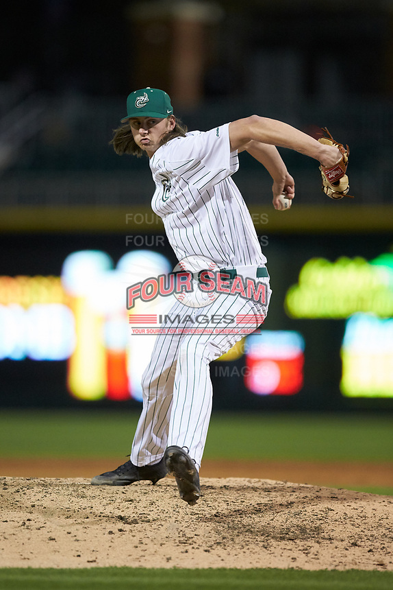 Charlotte 49ers relief pitcher Colby Bruce (21) in action against the Clemson Tigers at BB&T BallPark on March 26, 2019 in Charlotte, North Carolina. The Tigers defeated the 49ers 8-5. (Brian Westerholt/Four Seam Images)